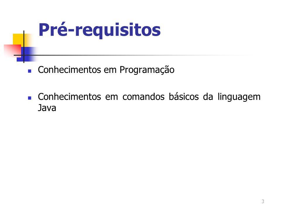 Pré-requisitos Conhecimentos em Programação Conhecimentos em comandos básicos da linguagem Java 3