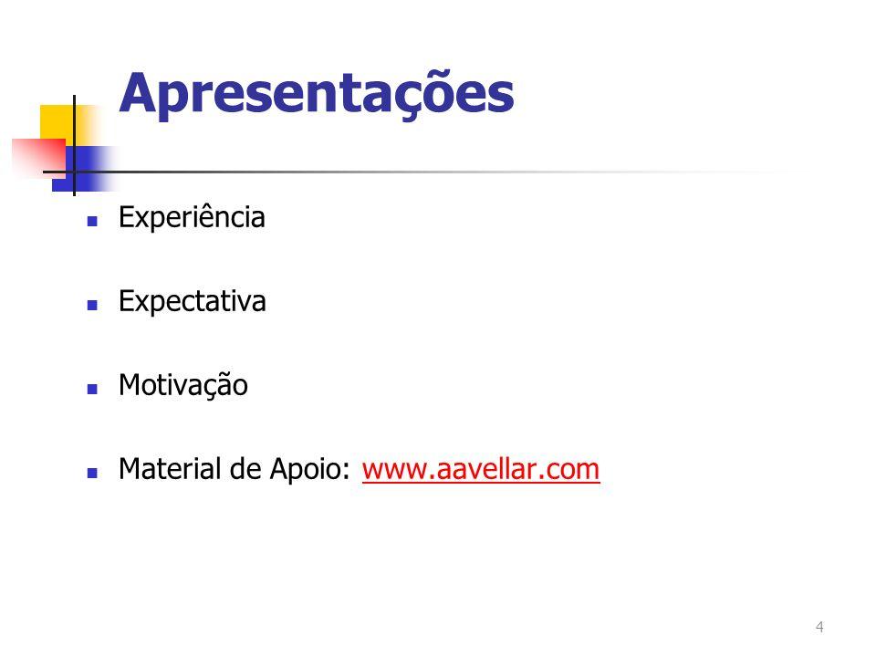 Apresentações Experiência Expectativa Motivação Material de Apoio: www.aavellar.comwww.aavellar.com 4