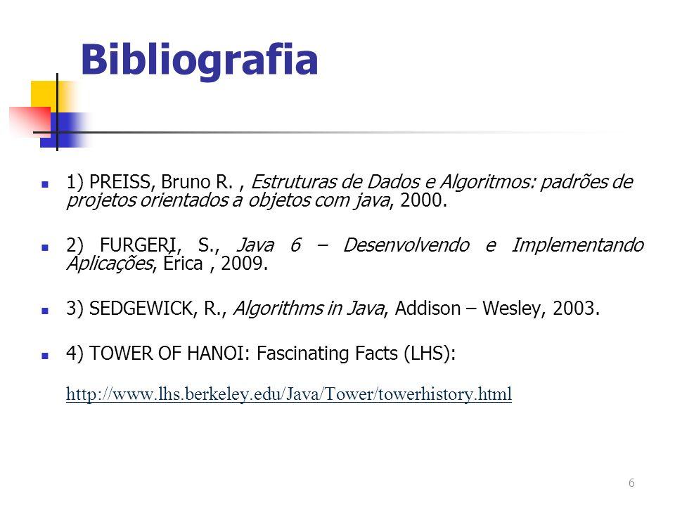 Bibliografia 1) PREISS, Bruno R., Estruturas de Dados e Algoritmos: padrões de projetos orientados a objetos com java, 2000. 2) FURGERI, S., Java 6 –