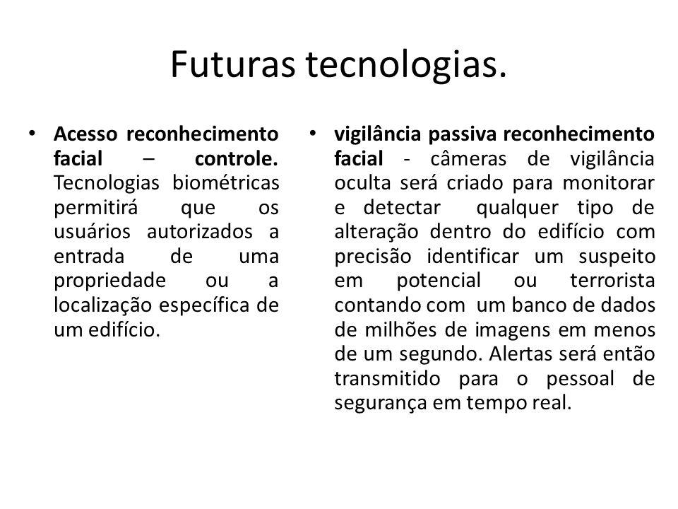 Futuras tecnologias. Acesso reconhecimento facial – controle. Tecnologias biométricas permitirá que os usuários autorizados a entrada de uma proprieda