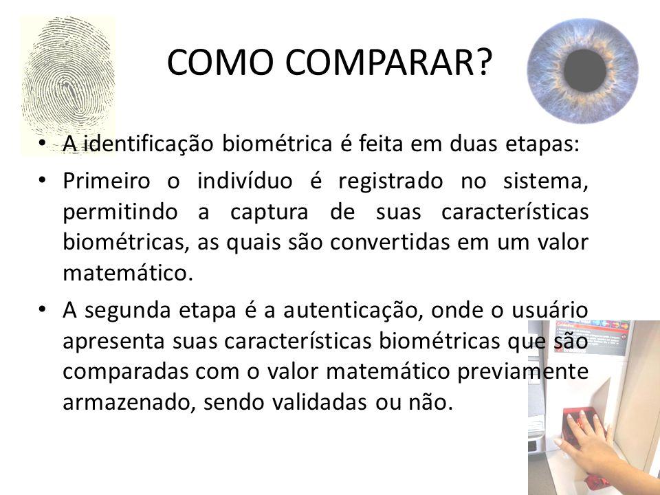 COMO COMPARAR? A identificação biométrica é feita em duas etapas: Primeiro o indivíduo é registrado no sistema, permitindo a captura de suas caracterí