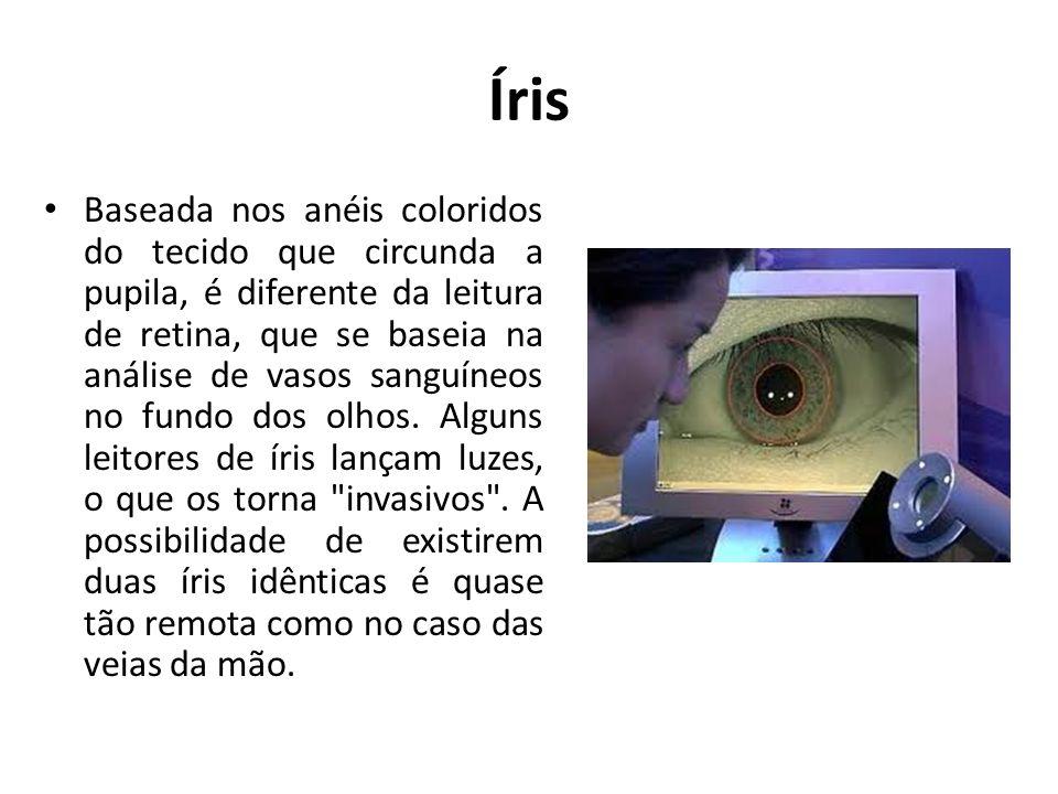 Íris Baseada nos anéis coloridos do tecido que circunda a pupila, é diferente da leitura de retina, que se baseia na análise de vasos sanguíneos no fu