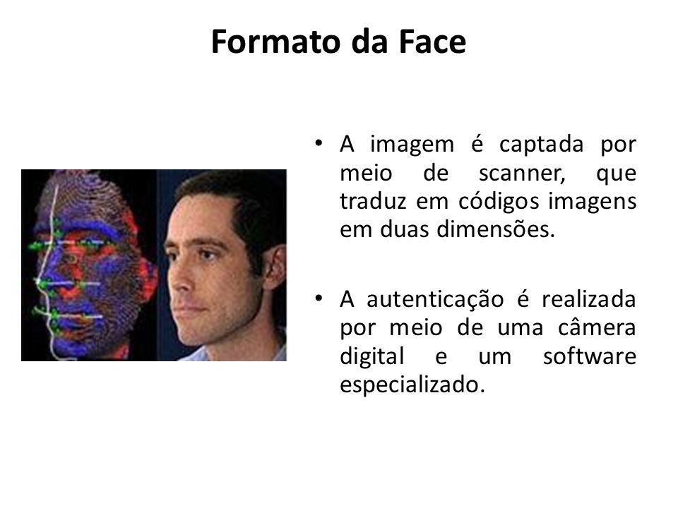 Formato da Face A imagem é captada por meio de scanner, que traduz em códigos imagens em duas dimensões. A autenticação é realizada por meio de uma câ