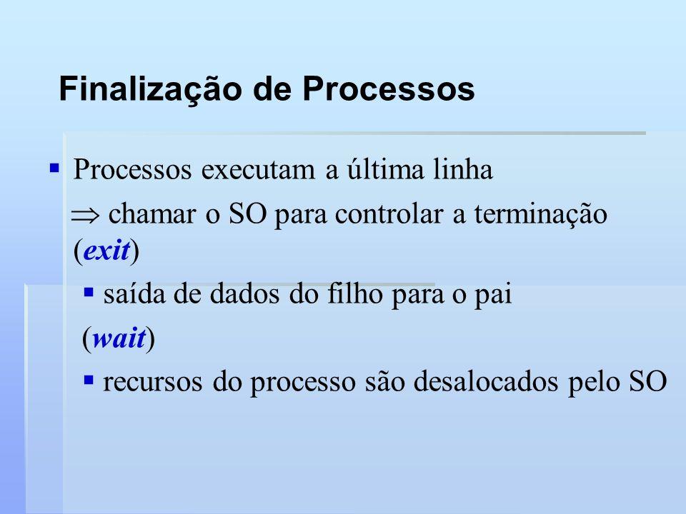 Finalização de Processos Processos executam a última linha chamar o SO para controlar a terminação (exit) saída de dados do filho para o pai (wait) re