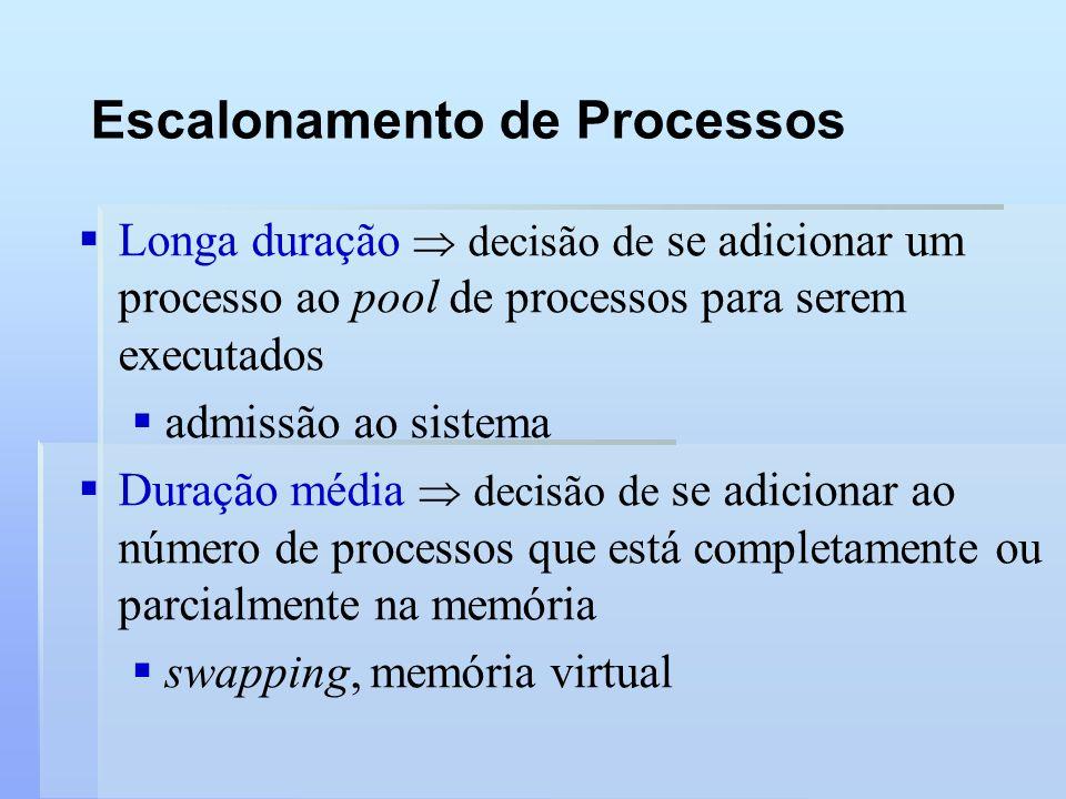 Escalonamento de Processos Longa duração decisão de se adicionar um processo ao pool de processos para serem executados admissão ao sistema Duração mé
