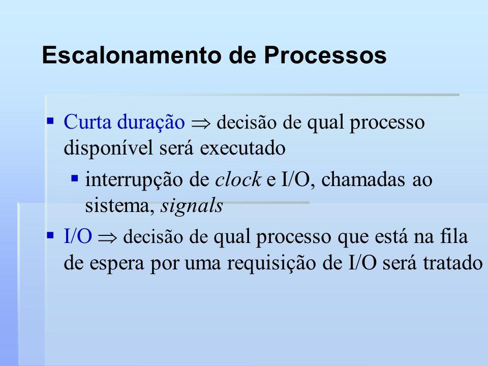 Escalonamento de Processos Curta duração decisão de qual processo disponível será executado interrupção de clock e I/O, chamadas ao sistema, signals I