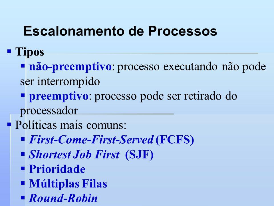 Escalonamento de Processos Tipos não-preemptivo: processo executando não pode ser interrompido preemptivo: processo pode ser retirado do processador P