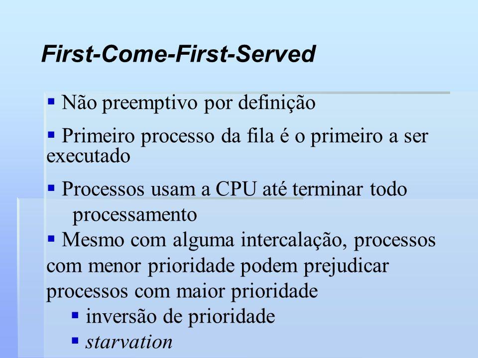 First-Come-First-Served Não preemptivo por definição Primeiro processo da fila é o primeiro a ser executado Processos usam a CPU até terminar todo pro