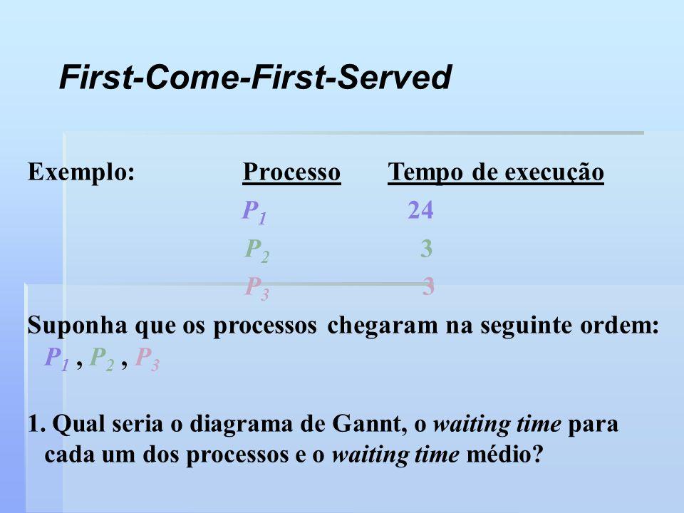 Exemplo: Processo Tempo de execução P 1 24 P 2 3 P 3 3 Suponha que os processos chegaram na seguinte ordem: P 1, P 2, P 3 1. Qual seria o diagrama de