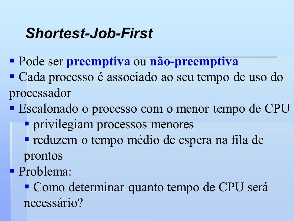 Shortest-Job-First Pode ser preemptiva ou não-preemptiva Cada processo é associado ao seu tempo de uso do processador Escalonado o processo com o meno