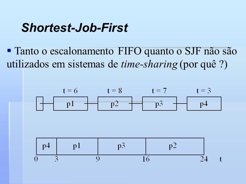 Shortest-Job-First Tanto o escalonamento FIFO quanto o SJF não são utilizados em sistemas de time-sharing (por quê ?)