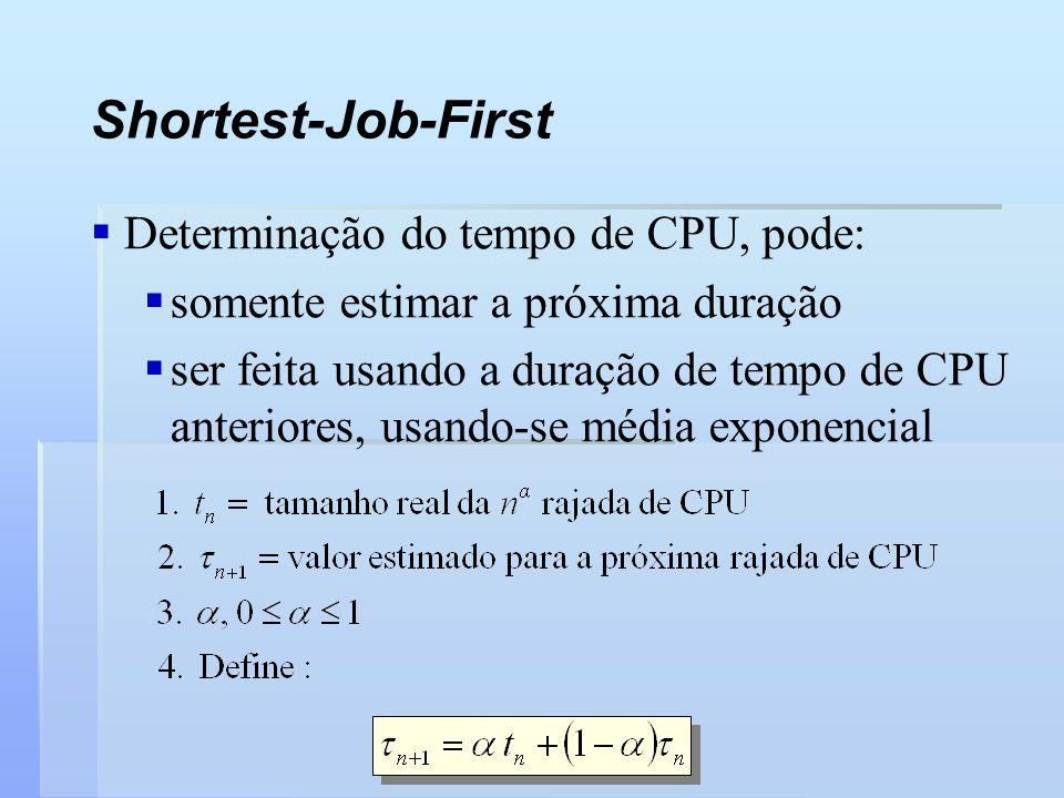 Shortest-Job-First Determinação do tempo de CPU, pode: somente estimar a próxima duração ser feita usando a duração de tempo de CPU anteriores, usando