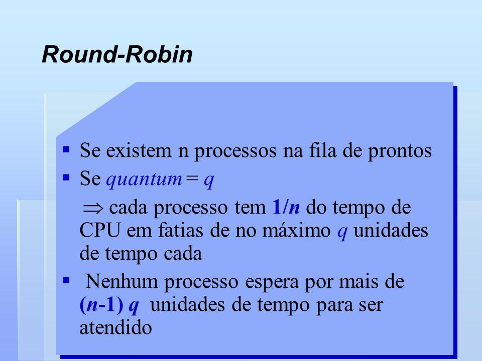 Round-Robin Se existem n processos na fila de prontos Se quantum = q cada processo tem 1/n do tempo de CPU em fatias de no máximo q unidades de tempo