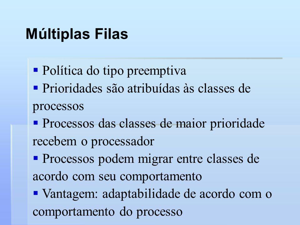 Múltiplas Filas Política do tipo preemptiva Prioridades são atribuídas às classes de processos Processos das classes de maior prioridade recebem o pro