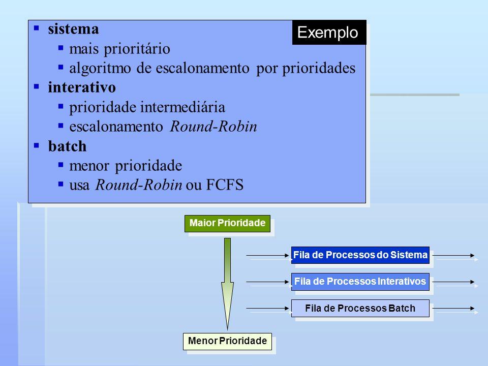 Fila de Processos do Sistema Fila de Processos Batch Fila de Processos Interativos Maior Prioridade Menor Prioridade sistema mais prioritário algoritm