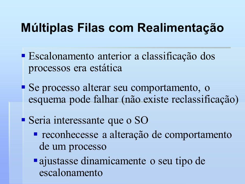 Múltiplas Filas com Realimentação Escalonamento anterior a classificação dos processos era estática Se processo alterar seu comportamento, o esquema p
