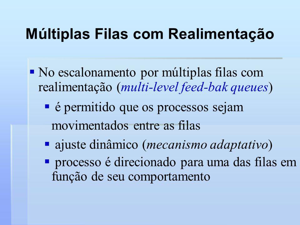 Múltiplas Filas com Realimentação No escalonamento por múltiplas filas com realimentação (multi-level feed-bak queues) é permitido que os processos se