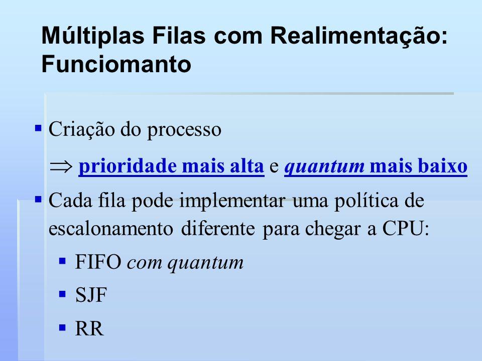 Múltiplas Filas com Realimentação: Funciomanto Criação do processo prioridade mais alta e quantum mais baixo Cada fila pode implementar uma política d