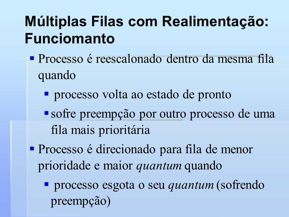 Múltiplas Filas com Realimentação: Funciomanto Processo é reescalonado dentro da mesma fila quando processo volta ao estado de pronto sofre preempção