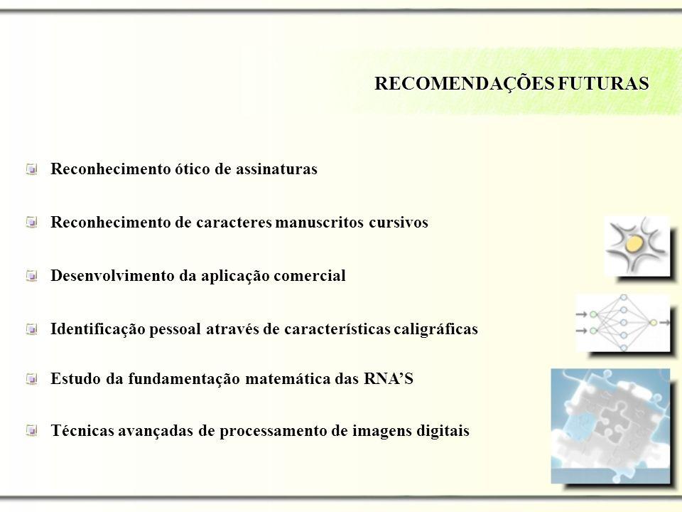 RECOMENDAÇÕES FUTURAS Reconhecimento ótico de assinaturas Reconhecimento de caracteres manuscritos cursivos Desenvolvimento da aplicação comercial Ide