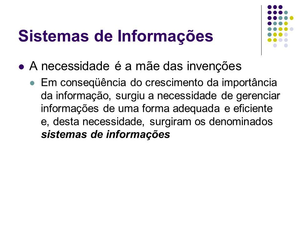 Sistemas de Informações A necessidade é a mãe das invenções Em conseqüência do crescimento da importância da informação, surgiu a necessidade de geren