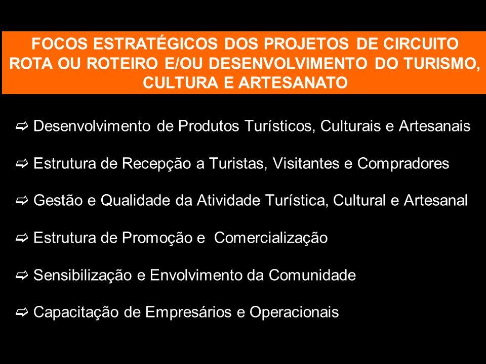 Desenvolvimento de Produtos Turísticos, Culturais e Artesanais Estrutura de Recepção a Turistas, Visitantes e Compradores Gestão e Qualidade da Ativid