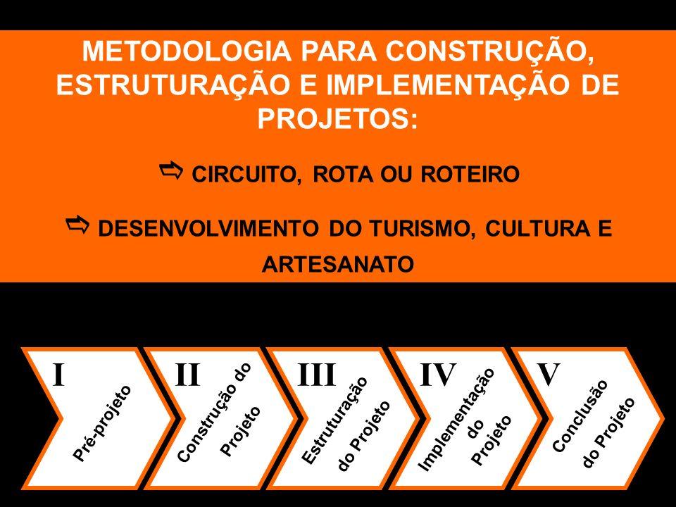 METODOLOGIA PARA CONSTRUÇÃO, ESTRUTURAÇÃO E IMPLEMENTAÇÃO DE PROJETOS: CIRCUITO, ROTA OU ROTEIRO DESENVOLVIMENTO DO TURISMO, CULTURA E ARTESANATO I Pr