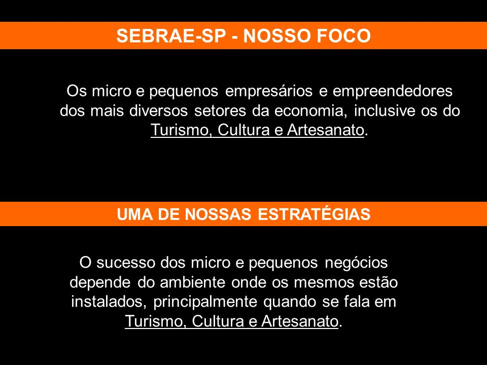 Os micro e pequenos empresários e empreendedores dos mais diversos setores da economia, inclusive os do Turismo, Cultura e Artesanato. SEBRAE-SP - NOS