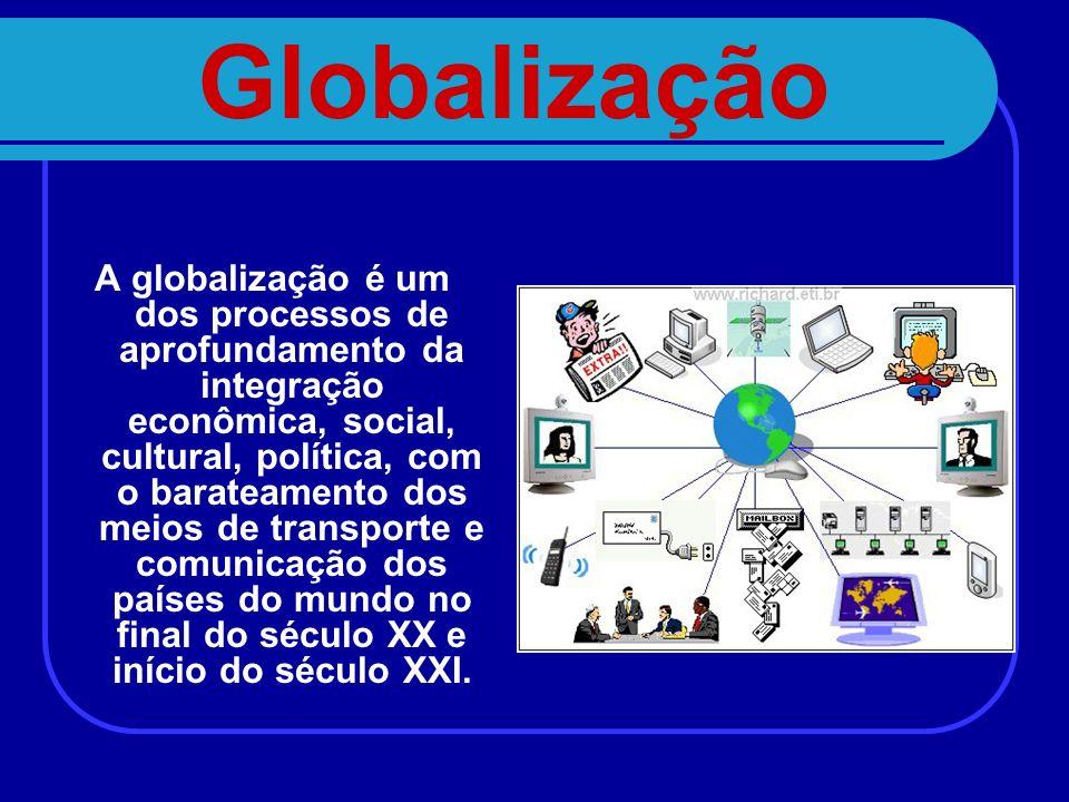 Globalização A globalização é um dos processos de aprofundamento da integração econômica, social, cultural, política, com o barateamento dos meios de