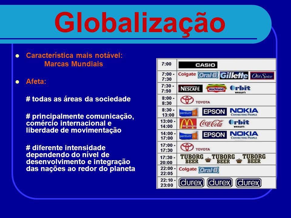 Globalização Característica mais notável: Marcas Mundiais Afeta: # todas as áreas da sociedade # principalmente comunicação, comércio internacional e