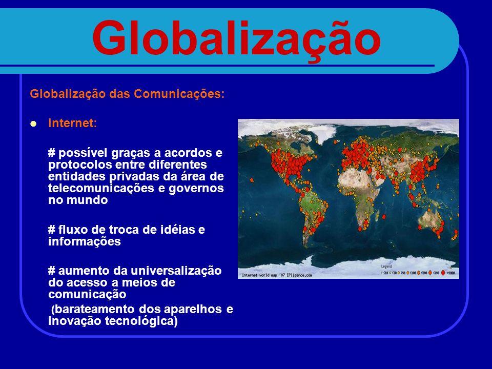 Globalização Globalização das Comunicações: Internet: # possível graças a acordos e protocolos entre diferentes entidades privadas da área de telecomu