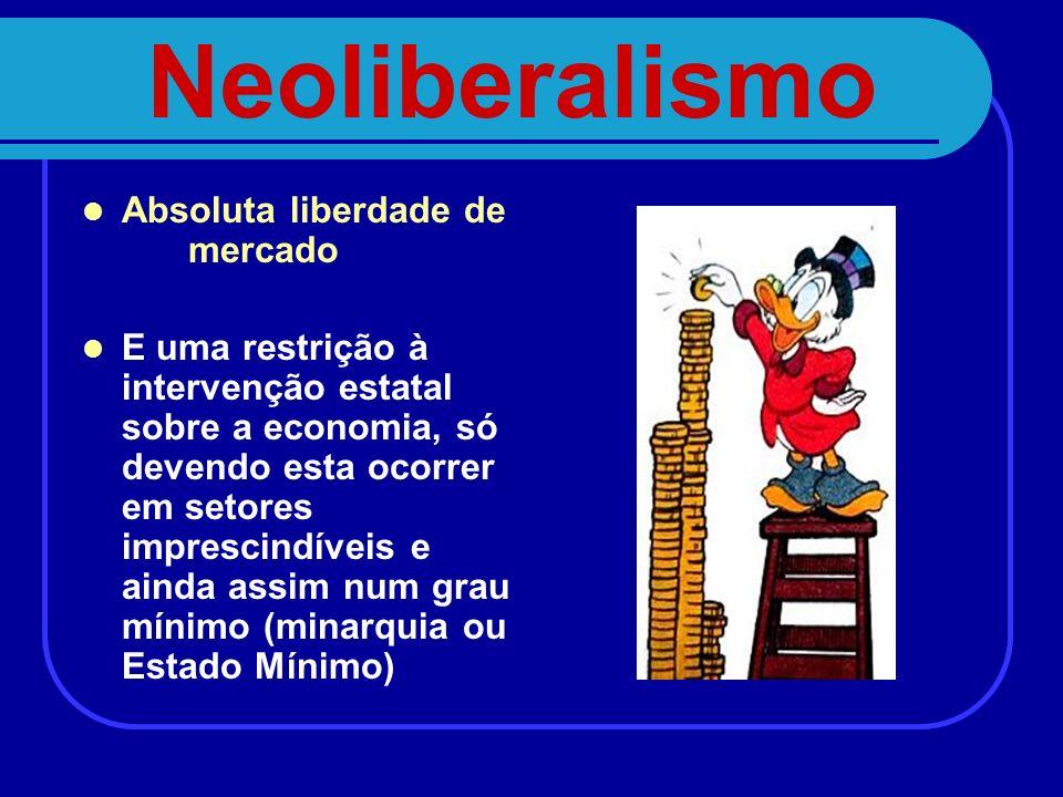 Neoliberalismo Absoluta liberdade de mercado E uma restrição à intervenção estatal sobre a economia, só devendo esta ocorrer em setores imprescindívei