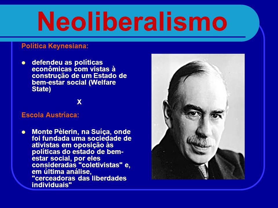 Neoliberalismo Política Keynesiana: defendeu as políticas econômicas com vistas à construção de um Estado de bem-estar social (Welfare State) X Escola
