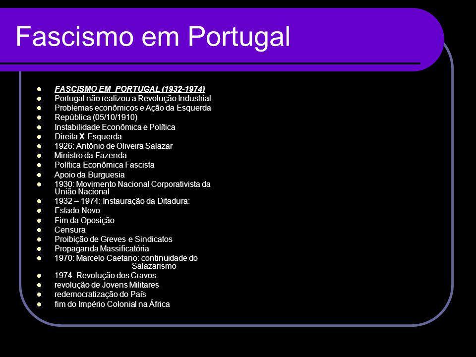 Fascismo em Portugal FASCISMO EM PORTUGAL (1932-1974) Portugal não realizou a Revolução Industrial Problemas econômicos e Ação da Esquerda República (