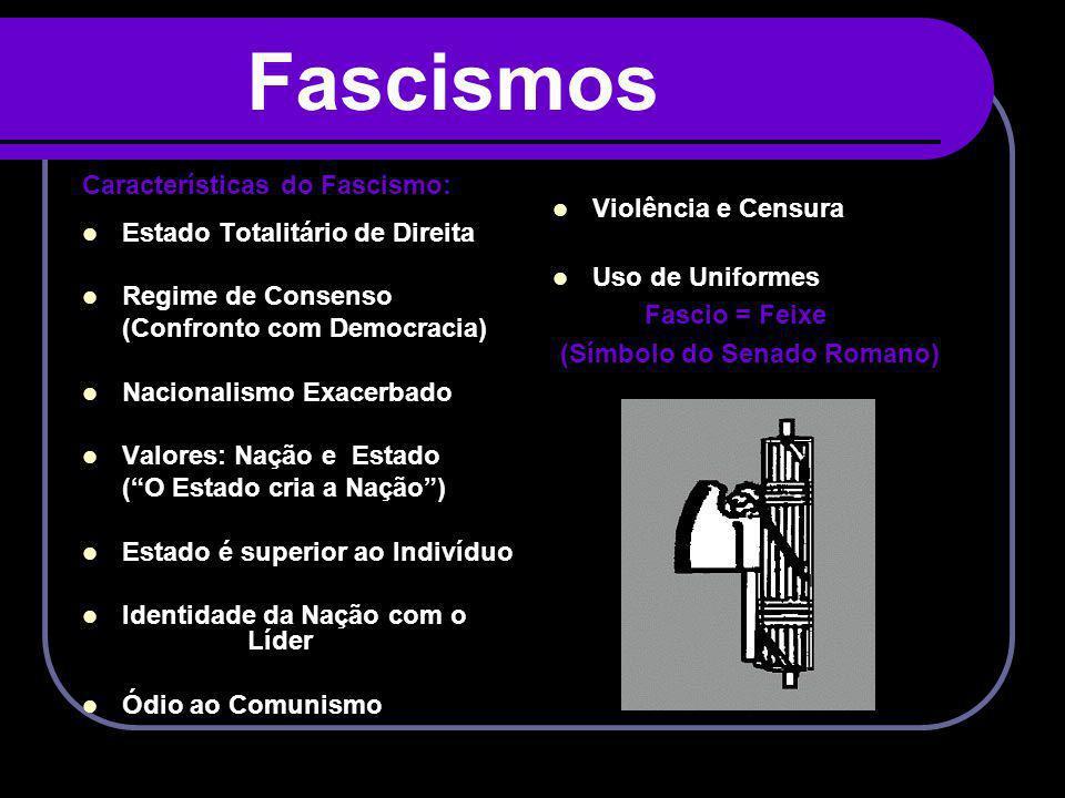 Fascismos Características do Fascismo: Estado Totalitário de Direita Regime de Consenso (Confronto com Democracia) Nacionalismo Exacerbado Valores: Na