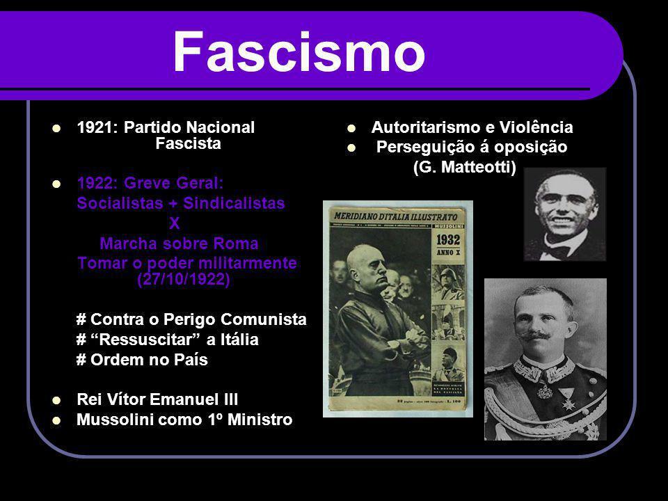 Fascismo 1921: Partido Nacional Fascista 1922: Greve Geral: Socialistas + Sindicalistas X Marcha sobre Roma Tomar o poder militarmente (27/10/1922) #