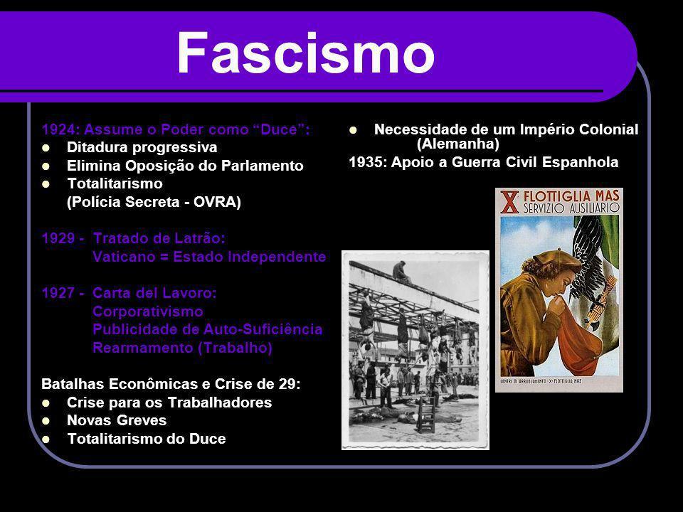 Fascismo 1924: Assume o Poder como Duce: Ditadura progressiva Elimina Oposição do Parlamento Totalitarismo (Polícia Secreta - OVRA) 1929 - Tratado de