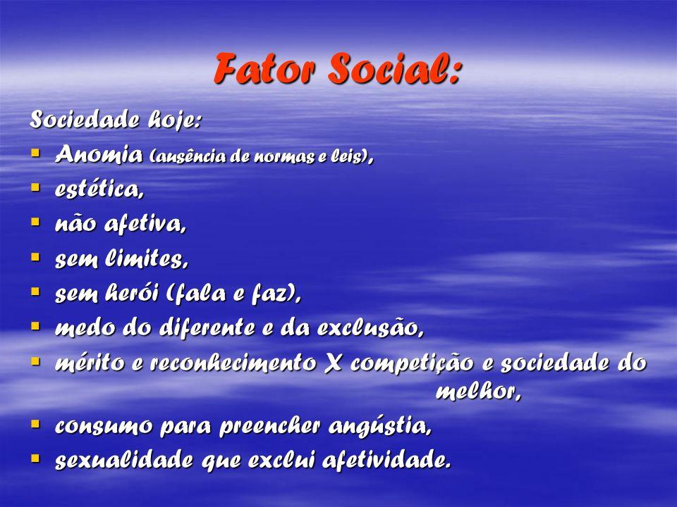Fator Social: Sociedade hoje: Anomia (ausência de normas e leis), Anomia (ausência de normas e leis), estética, estética, não afetiva, não afetiva, se