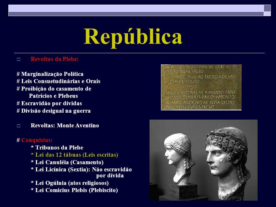 República Revoltas da Plebe: # Marginalização Política # Leis Consuetudinárias e Orais # Proibição do casamento de Patrícios e Plebeus # Escravidão po