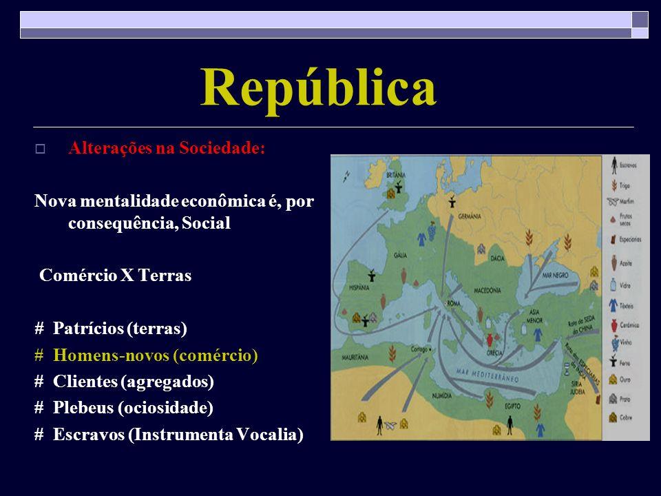 República Alterações na Sociedade: Nova mentalidade econômica é, por consequência, Social Comércio X Terras # Patrícios (terras) # Homens-novos (comér