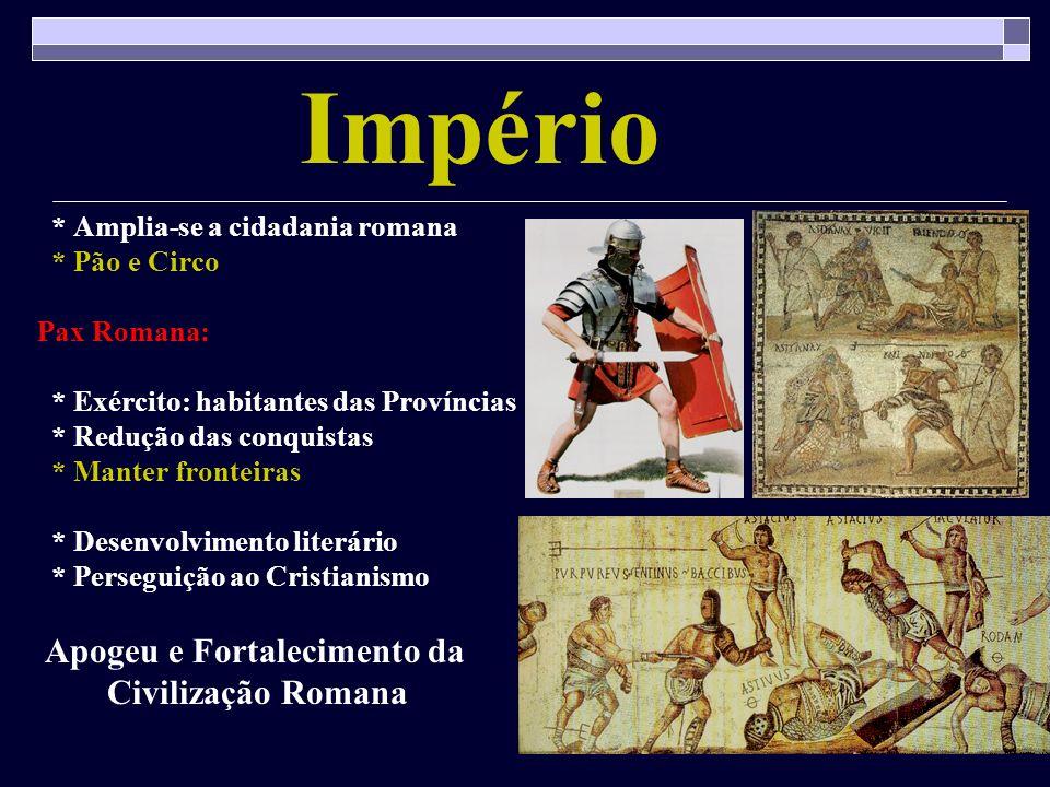 Império * Amplia-se a cidadania romana * Pão e Circo Pax Romana: * Exército: habitantes das Províncias * Redução das conquistas * Manter fronteiras *