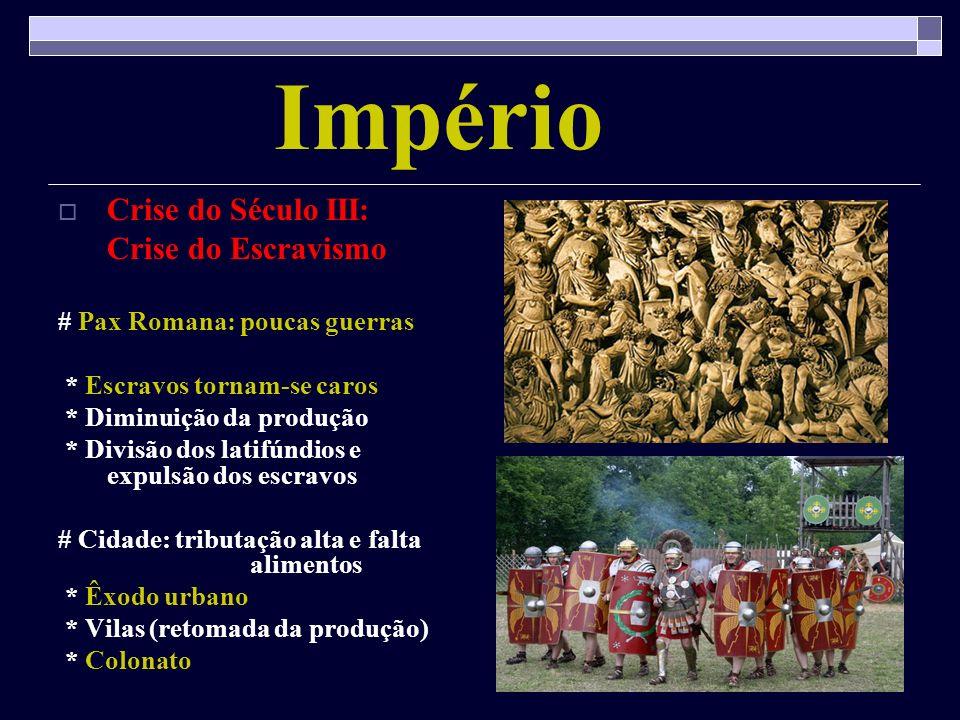 Império Crise do Século III: Crise do Escravismo # Pax Romana: poucas guerras * Escravos tornam-se caros * Diminuição da produção * Divisão dos latifú