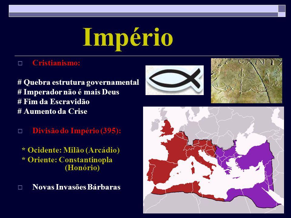 Império Cristianismo: # Quebra estrutura governamental # Imperador não é mais Deus # Fim da Escravidão # Aumento da Crise Divisão do Império (395): *
