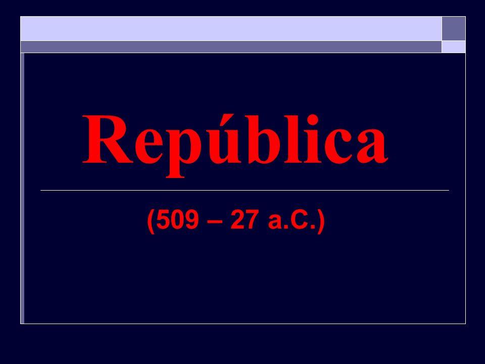 República Geral: # Descentralização Administrativa # Monopólio dos Patrícios Política: # Legislativo: Senado # Executivo: Magistrados divididos em: Cônsules (02) Ditador (06 meses) Censor Edil Questor Pretor Pontífices Tribunos da Plebe (depois)