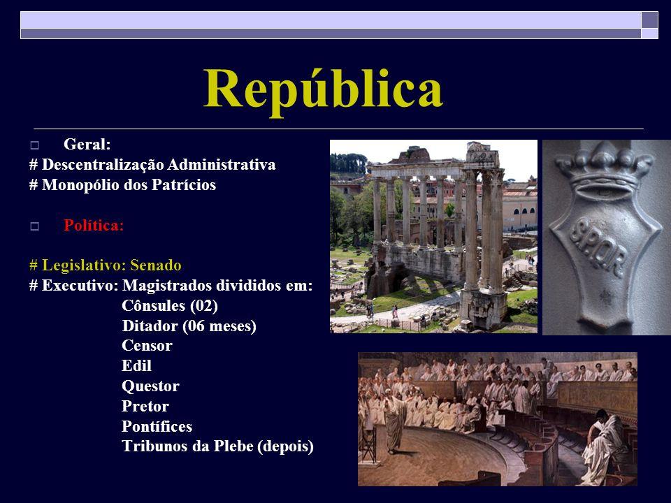 República Geral: # Descentralização Administrativa # Monopólio dos Patrícios Política: # Legislativo: Senado # Executivo: Magistrados divididos em: Cô