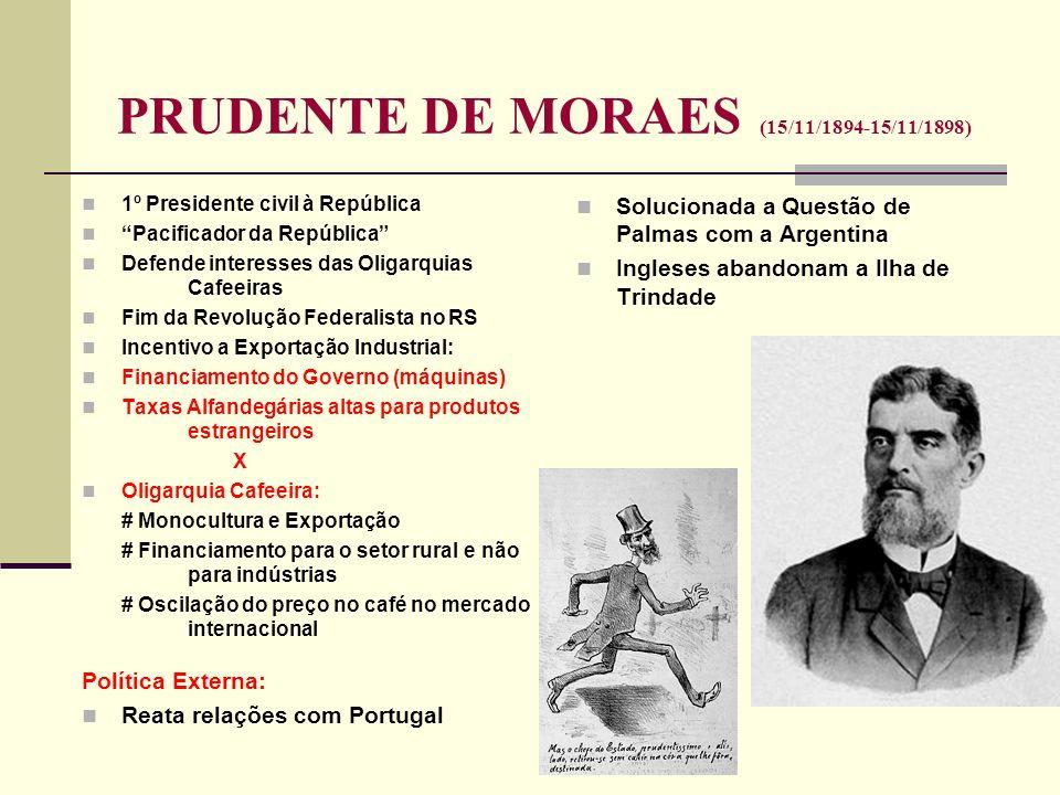 PRUDENTE DE MORAES (15/11/1894-15/11/1898) 1º Presidente civil à República Pacificador da República Defende interesses das Oligarquias Cafeeiras Fim d
