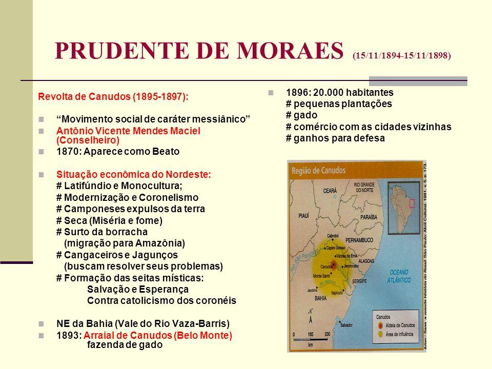 PRUDENTE DE MORAES (15/11/1894-15/11/1898) Revolta de Canudos (1895-1897): Movimento social de caráter messiânico Antônio Vicente Mendes Maciel (Conse