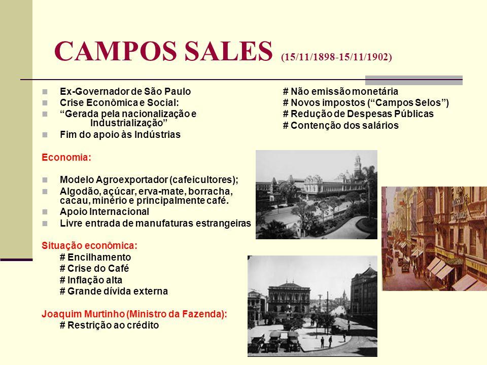 CAMPOS SALES (15/11/1898-15/11/1902) Ex-Governador de São Paulo Crise Econômica e Social: Gerada pela nacionalização e Industrialização Fim do apoio à