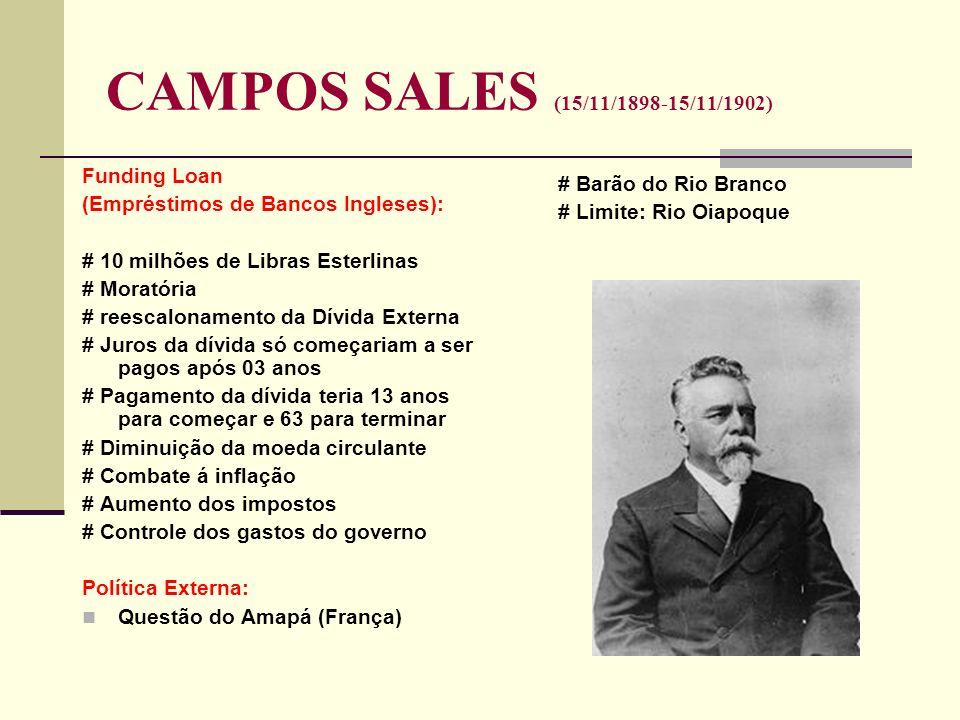 CAMPOS SALES (15/11/1898-15/11/1902) Funding Loan (Empréstimos de Bancos Ingleses): # 10 milhões de Libras Esterlinas # Moratória # reescalonamento da
