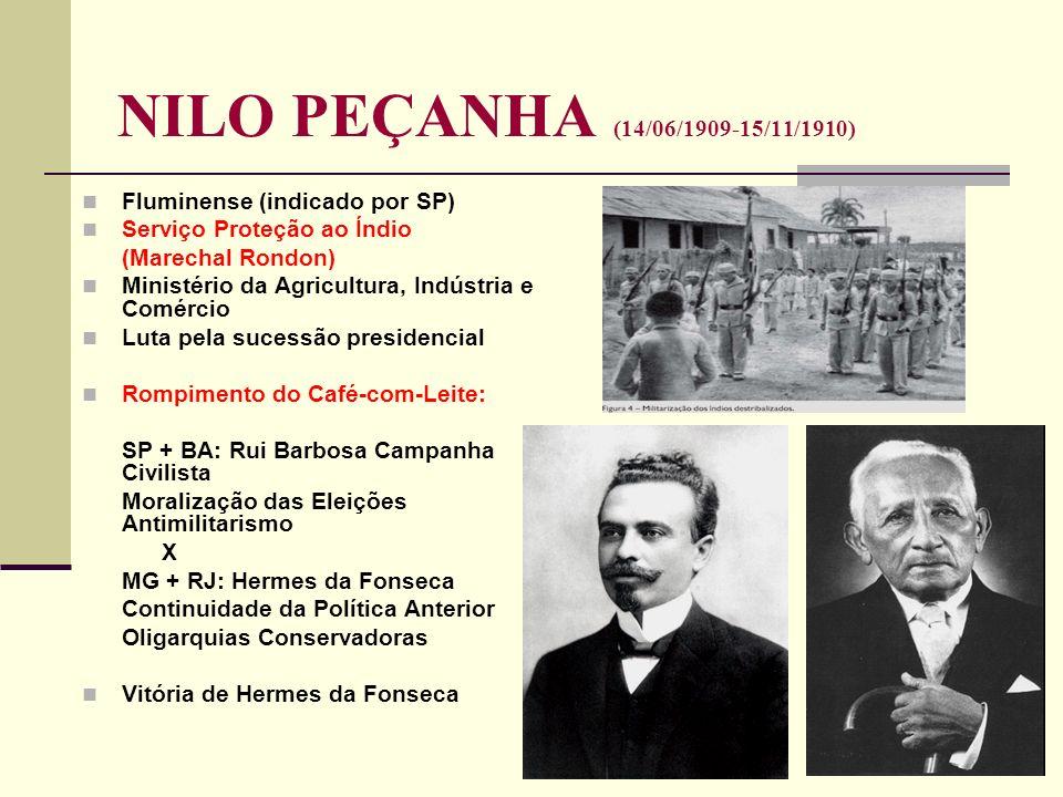 NILO PEÇANHA (14/06/1909-15/11/1910) Fluminense (indicado por SP) Serviço Proteção ao Índio (Marechal Rondon) Ministério da Agricultura, Indústria e C